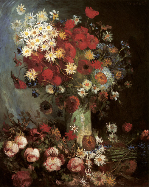 Art Prints Of Vase With Poppies Daisies Cornflowers Peonies By