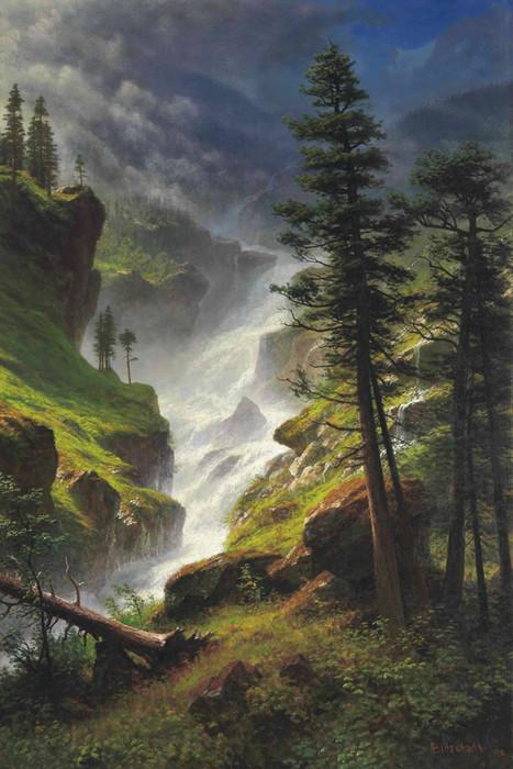 Art prints of rocky mountain waterfall by albert bierstadt altavistaventures Images