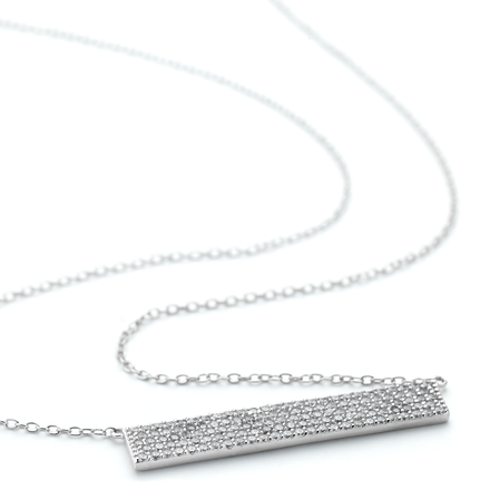 Pave crystal flat ingot necklace product photo in white rhodium finish over sterling silver