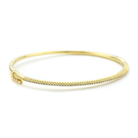 Oval Crystal Cuff Bangle Gold Vermeil over Sterling Silver