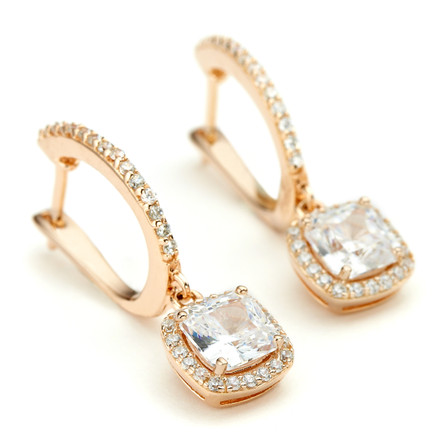 Rose gold drop earrings with square centre crystal with halo in 925 sterling silver Core metal