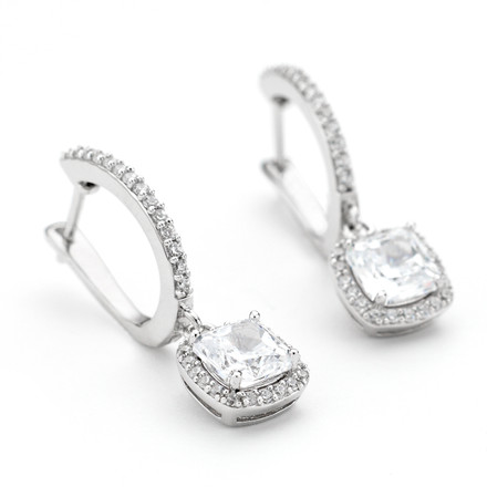 Square CZ Halo Drop Earrings in Sterling Silver