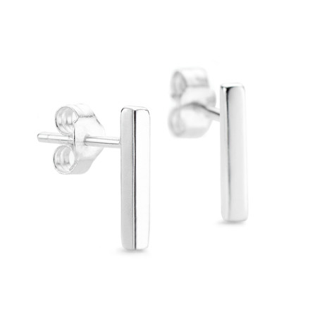 Bar Stud Earrings - Sterling Silver White Rhodium Plate
