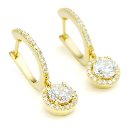 SKU E0007G yellow gold vermeil Constellations round drop CZ halo stud earrings from One by One