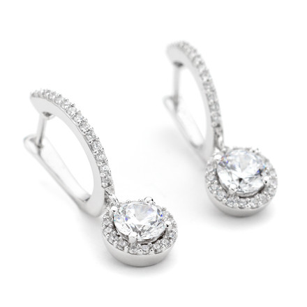 CZ Round Halo Drop Earrings in Sterling Silver