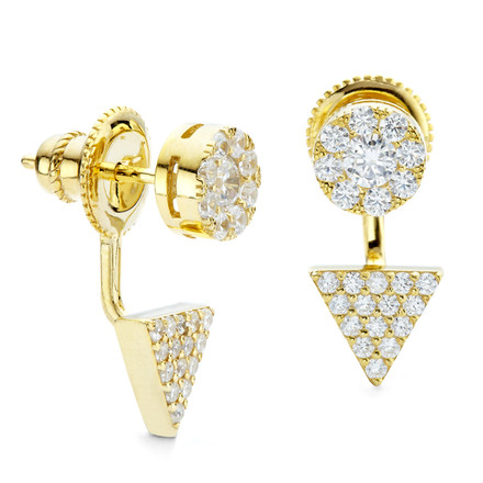Prism Disc CZ Under Lobe Earrings Gold Vermeil