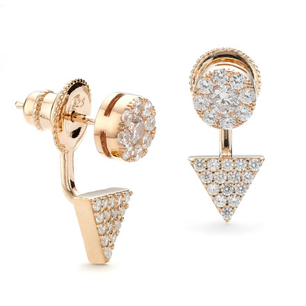 Swing Earrings - Prism Disc CZ Rose Gold Vermeil