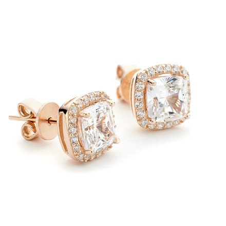 Square CZ Halo Stud Earrings Rose Gold Vermeil