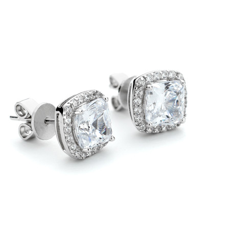 Square CZ Halo Stud Earrings in Sterling Silver