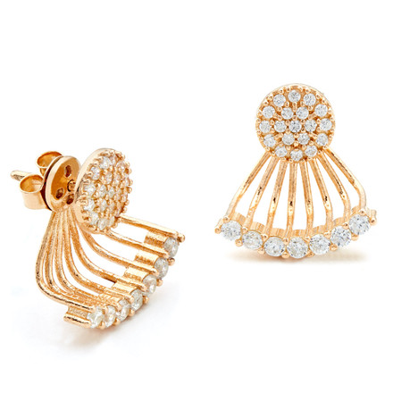 Pave CZ Small Disc Swing Earrings Rose Gold Vermeil