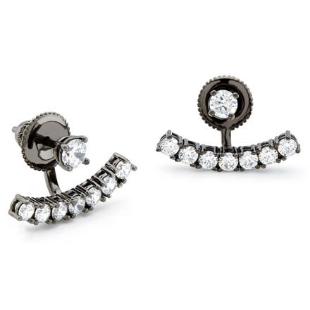 Constellations curved bar swing earrings in sterling silver with black rhodium vintage finish and CZ stones