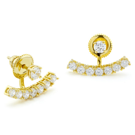 CZ Curved Bar Under Lobe Earrings Gold Vermeil