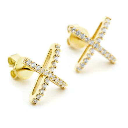 Atomic shape X stud earrings in yellow gold vermeil from One by One Allobar collection