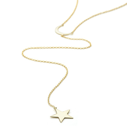 Yellow gold vermeil Allobar moon and star drop charm lariat long necklace in sterling silver