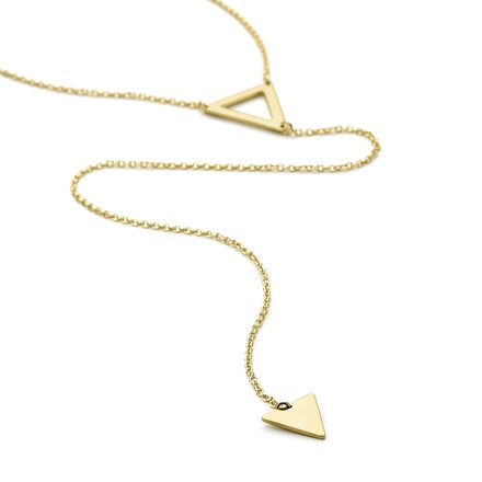 Double prism Allobar lariat long necklace in 14ct yellow gold vermeil over 925 sterling silver