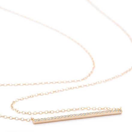 Crystal Bar Necklace Rose Gold over Sterling Silver - Allobar