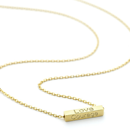 Allobar collection inspirations ingot necklace in yellow gold vermeil with the words love courage wisdom luck