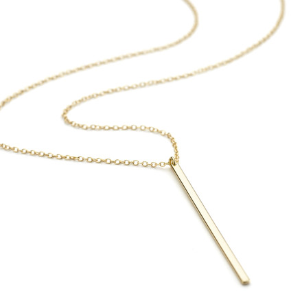 2mm Allobar flat ingot vertical drop necklace in 14ct yellow gold vermeil from One by One