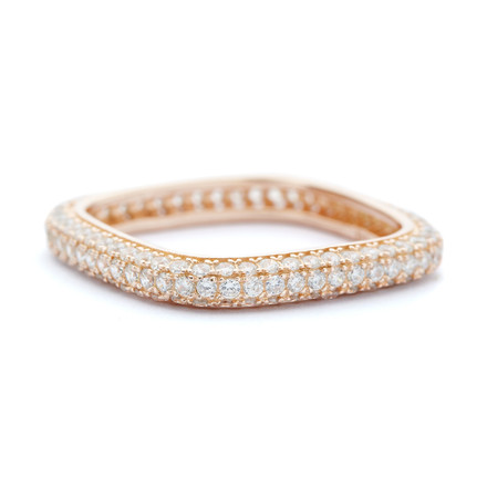 3mm Square Stacking CZ Ring Rose Gold Vermeil