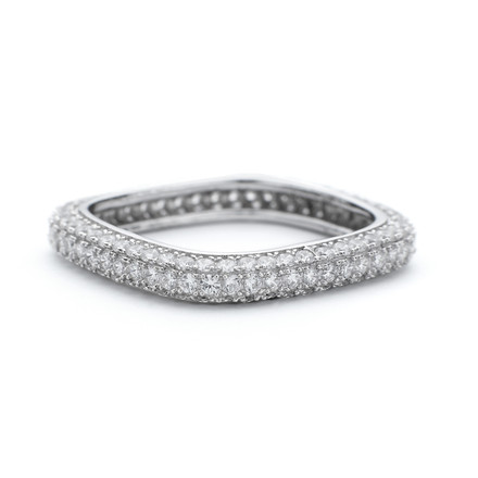 Square Stacking CZ Ring 3mm in Sterling Silver