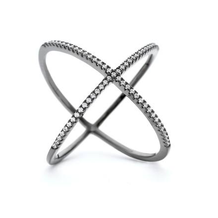 Atomic CZ Criss Cross X Ring Black Rhodium over Sterling Silver