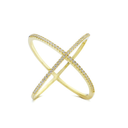 Atomic CZ Criss Cross X Ring Gold Vermeil over Sterling Silver