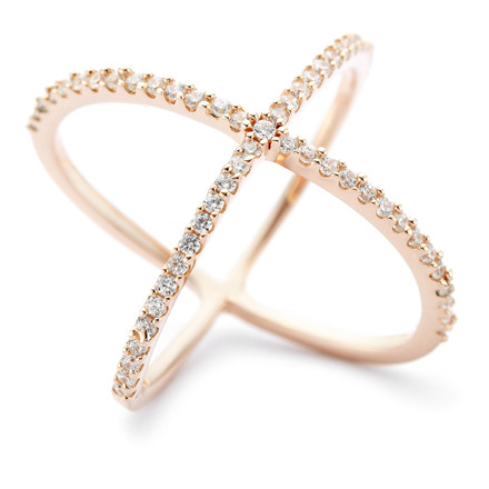 Atomic CZ Criss Cross X Ring in Rose Gold Vermeil over Sterling Silver