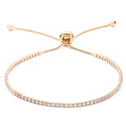Single Strand CZ Slide Bracelet Rose Gold Vermeil