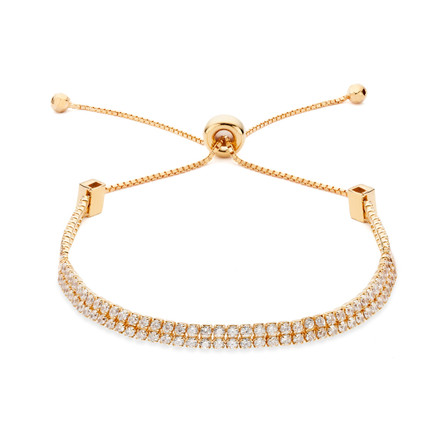 Double Strand CZ Slide Bracelet Rose Gold Vermeil