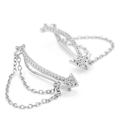 Sterling Silver Chain Cuff Earrings with CZ Arrow