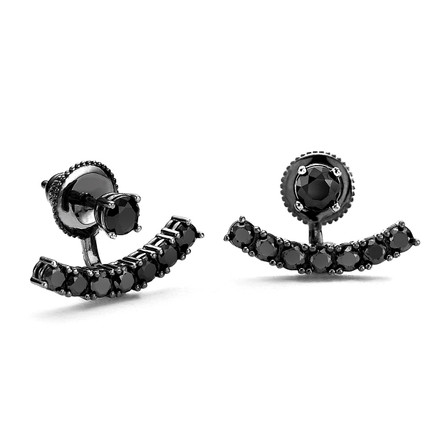 black swing earrings with black cz crystals under lobe curved bar