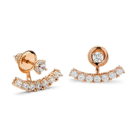 Rose Gold Under Lobe CZ Swing Earrings
