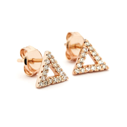 Triangle Crystal Studs Rose Gold Vermeil