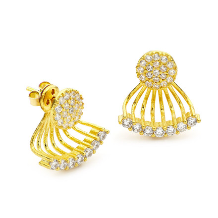 pave cz small disc swing earrings gold vermeil