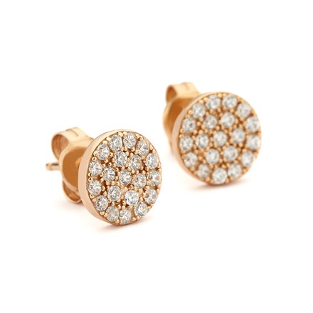 Pave Crystal Disc Studs Rose Gold Vermeil