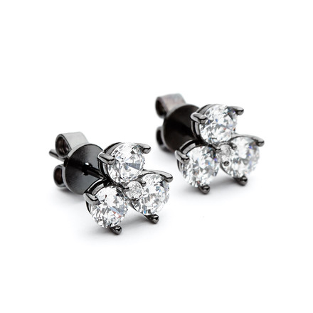 Black Rhodium Triple Cluster Facetted CZ Studs