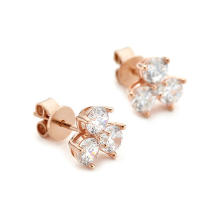 Triple Cluster Crystal Studs - Rose Gold Vermeil