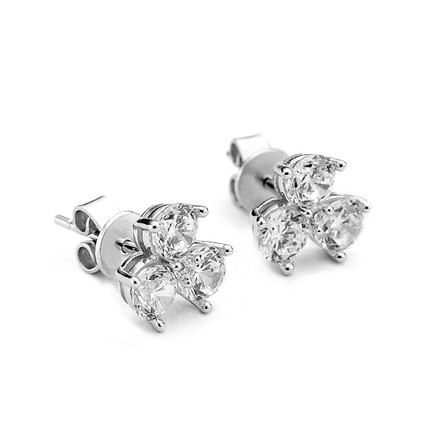 Triple Cluster Crystal Sterling Silver Stud Earrings