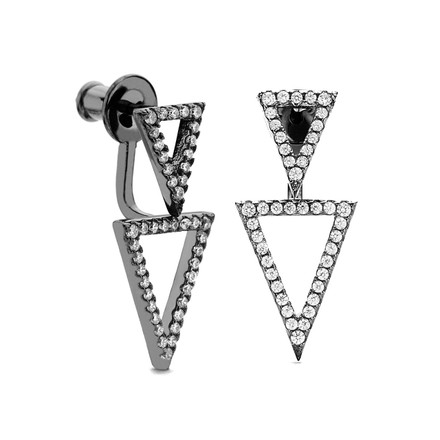black rhodium dual triangle cz swinging earrings