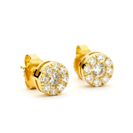 CZ Cluster Round Stud Earrings - Gold Vermeil
