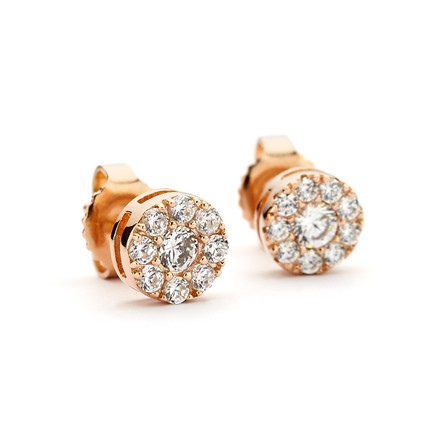 CZ Cluster Round Stud Earrings - Rose Gold