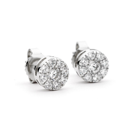 Sterling Silver CZ Cluster Round Stud Earrings