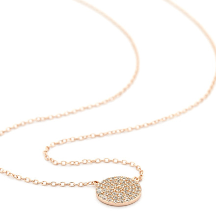 Crystal Pave Disc Necklace - Rose Gold