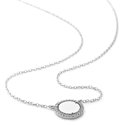 silver crystal surrounded mirror pendant necklace