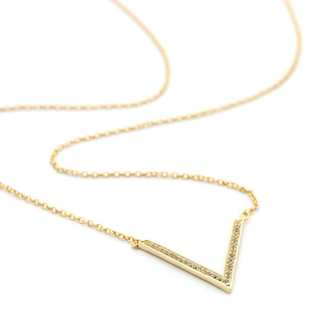 v pendant cz necklace - gold vermeil