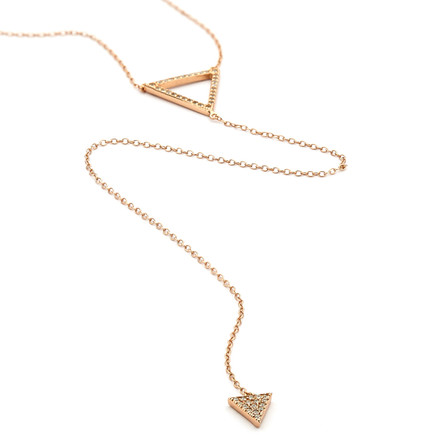Crystal Pave Double Triangle Long Lariat Necklace - Rose Gold Vermeil