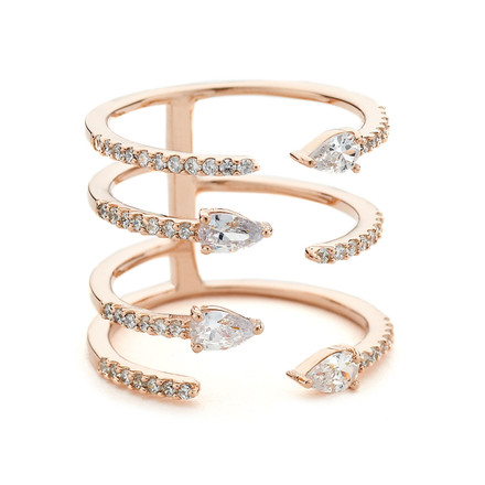 pave and pear czs open stack ring rose gold vermeil