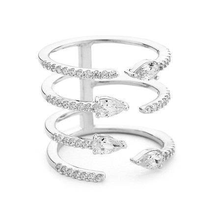 Pear and Pave Crystal Open Cuff Ring Silver