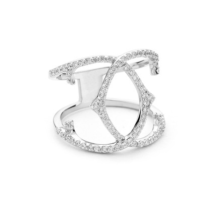 sterling silver spur crossover ring cz pave