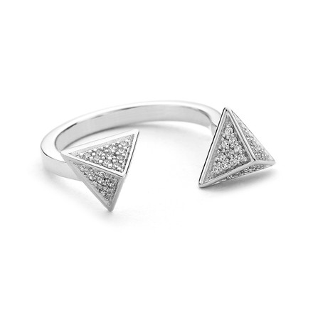 triangle spike open ring sterling silver